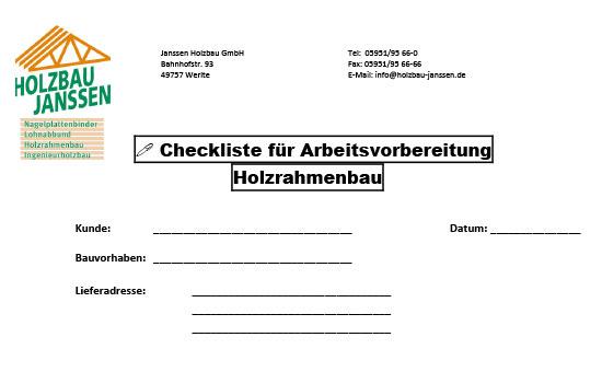 Checkliste Holzrahmenbau