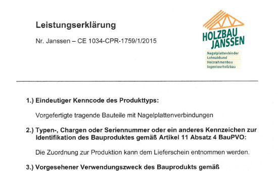 Erweiterte Leistungserklärung 2015