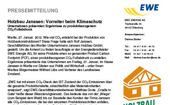 Presse: Vorreiter beim Klimaschutz